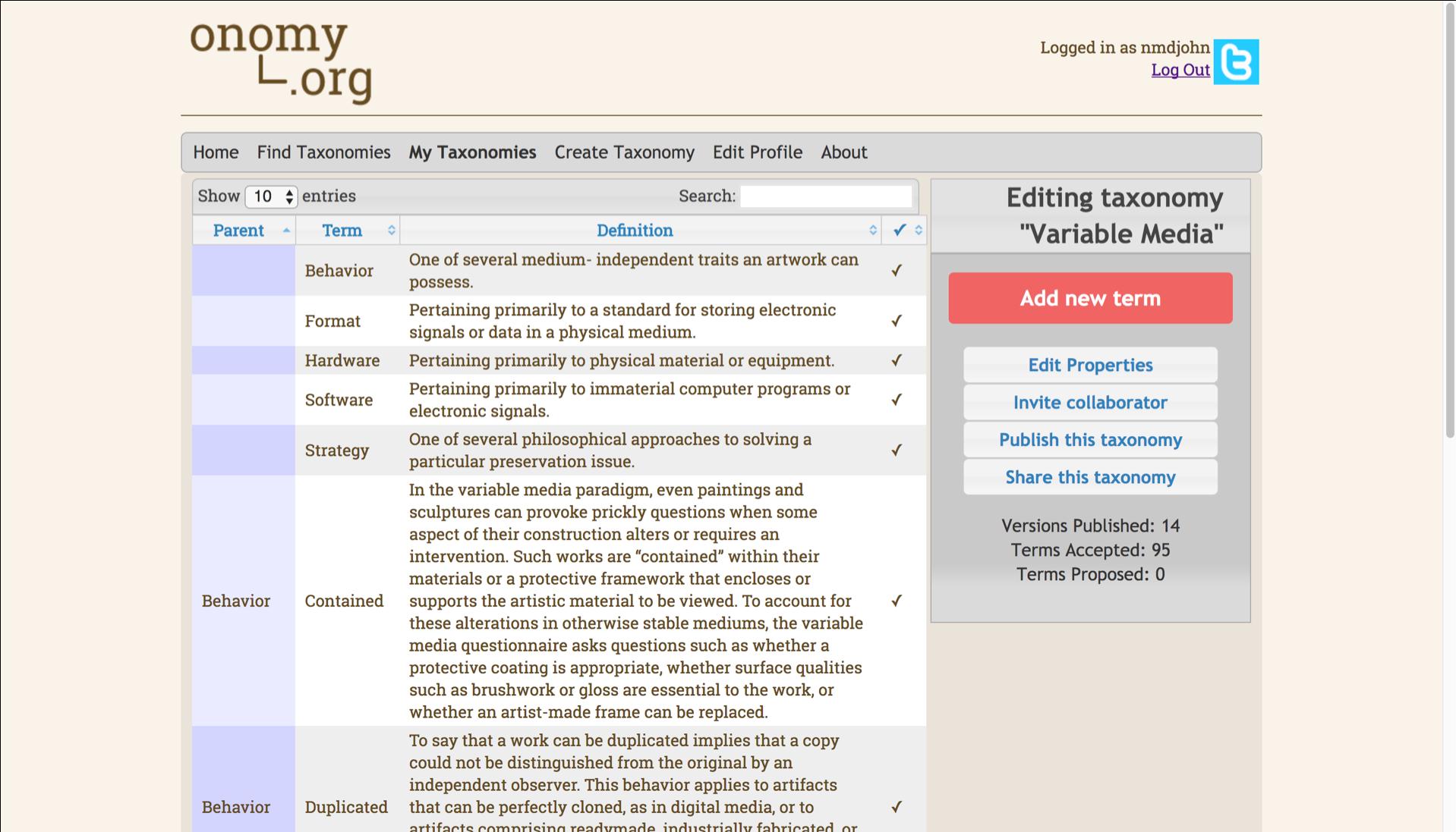 Onomy.org Vocabulary Interface